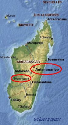Offshore of african coasts, Madagascar is at 400 km east...